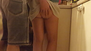 Tall Gf naked cooking, shows bare ass, pantyless housework