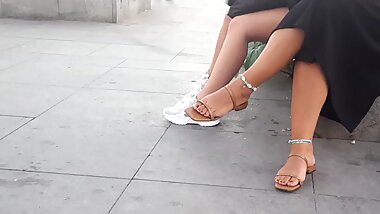 Mature fr her big fat feets toes in sandals