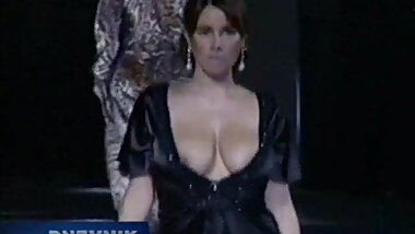 Naughty nipple slip models on the catwalk